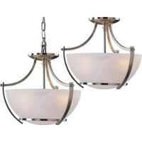 "Volume Lighting V4833 Durango 3-Light Foyer 14.75"" Height Pendant with Alabaster Glass Bowl Shade - Brushed nickel"