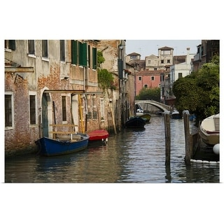 """Italy, Venice, Scenic view on canal with rowboats"" Poster Print"