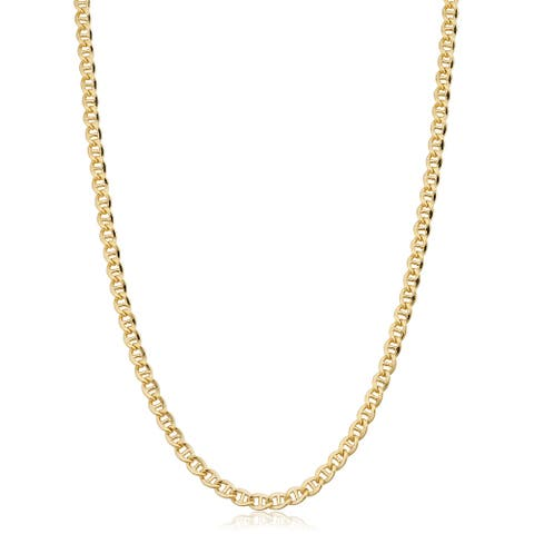 14k Yellow Gold Filled 4.3 millimeter Mariner Link Chain Necklace (16-36 inch)