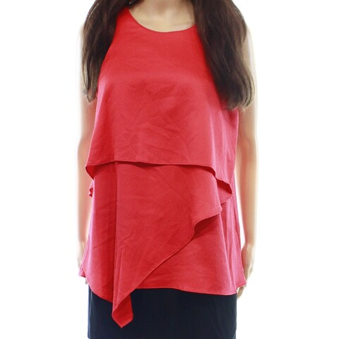 Alfani Women's Tiered Textured Asymmetrical Blouse