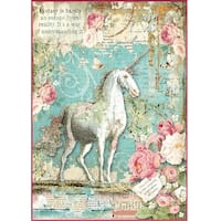 Stamperia Rice Paper Sheet A4-Wonderland Unicorn