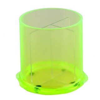 Tabletop Plastic Round Shaped 3 Compartments Pencil Storage Pen Holder Green