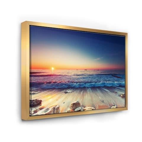 Designart 'Beautiful Sunrise over Blue Sea' Seashore Framed Canvas Art Print