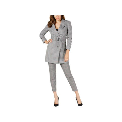 Guess Womens Double-Breasted Blazer Wear to Work Plaid - S