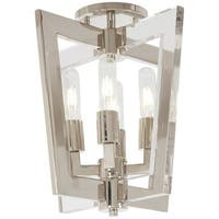 "Kovacs P1379-613 Crystal Chrome 4-Light 14"" Wide Semi-Flush Ceiling Fixture with Clear Acrylic Accents - Polished Nickel"