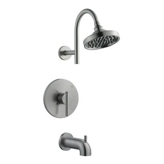 Design House 525691  Single Handle Tub And Shower Pressure Balanced with Single Function Shower Head & Valve - Satin Nickel