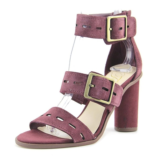 Fergie Fame Women Open Toe Suede Burgundy Sandals