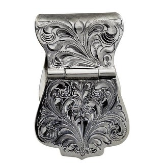 "Vogt Western Mens Money Clip Wide Engraved Sterling Silver 021-400 - 1 1/2"" x 2 1/4"""