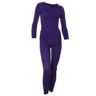 Unique Bargains Women Warm Leaf Pattern Thermal Long Johns Warm Suits Purple XS