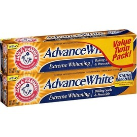 ARM & HAMMER Advance White Extreme Whitening Baking Soda and Peroxide Toothpaste, Fresh Mint, Twin Pack 6 oz