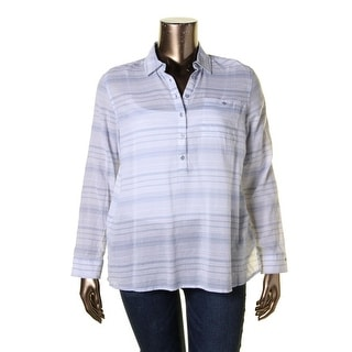 Tommy Hilfiger Womens Button-Down Top Gauze Striped