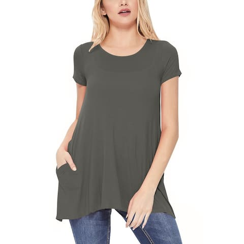 Women's Solid A-Line Short Sleeve Tunic Tee Top