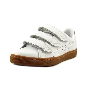 Puma Basket Classic Strap B&W Youth   Leather White Fashion Sneakers