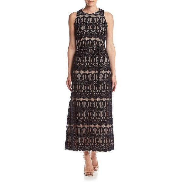 d4adce4b Shop Jessica Howard Petite Lace Maxi Evening Gown Dress Black/Nude - 6P -  Free Shipping Today - Overstock - 20350369