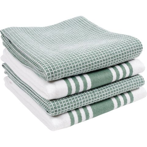 Centerband and Waffle Kitchen Towels, Set of 4