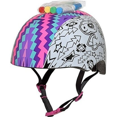 Raskullz My Little Pony Bicycle Color Me Child Helmet, Multi, Ages 5-8 - Black/White - N/A