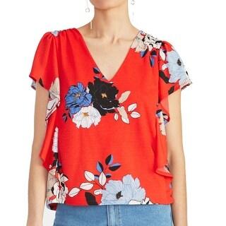 Rachel Roy Women's Blouse Orange Size XS Flutter Sleeve V Neck Floral