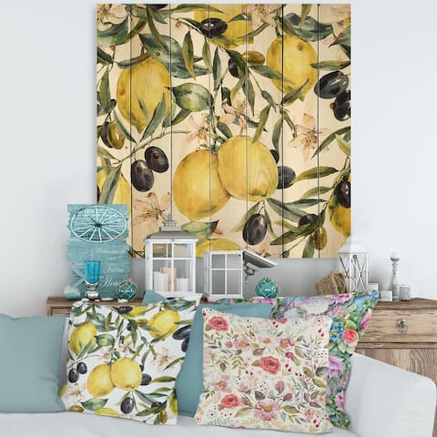 Designart 'Lemon and Olive Branches I' Tropical Print on Natural Pine Wood