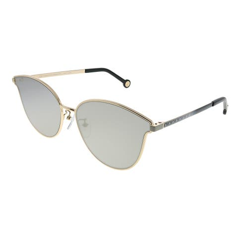 Carolina Herrera SHE 104 300X Womens Rose Gold Frame Grey Mirror Lens Sunglasses