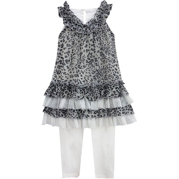 Isobella & Chloe Baby Girls Gray Naomi Two Piece Pant Outfit Set 12M-24M