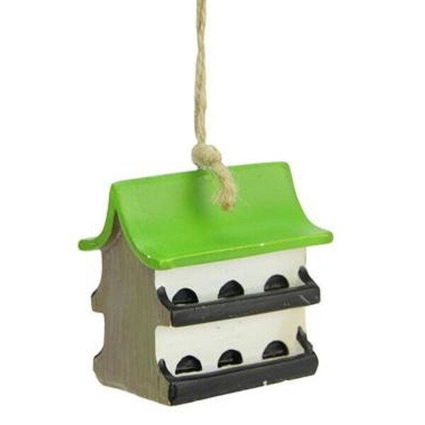 """2"""" Green Black and White Asian Influenced Birdhouse Christmas Ornament"""