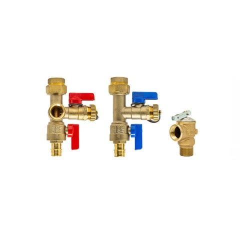 Expansion PEX A 3/4 inch Tankless Water Heater Isolation Service Valve Kit w/Pressure Relief Valve, for Rheem, Rinai, Eccotemp