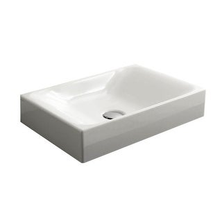 "WS Bath Collections Cento 3555  19-11/16"" Ceramic Vessel Bathroom Sink - White"