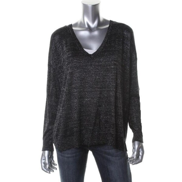 Joie Womens Calee V-Neck Sweater Metallic Knit