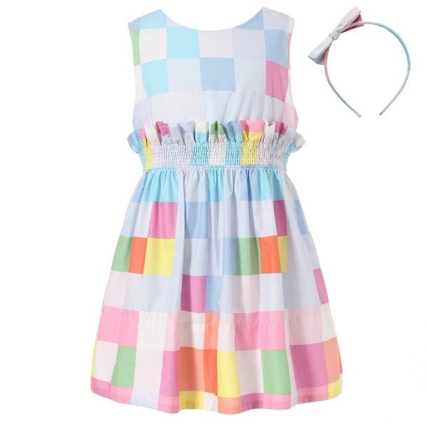 Richie House Baby Girls Colorful Plaid Ruffle Elastic Waistband Dress 24M