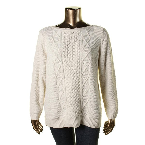 Karen Scott Womens Plus Pullover Sweater Metallic Cable Knit