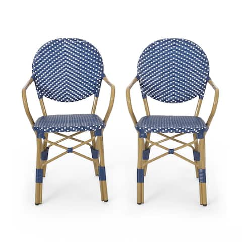 """Paul Outdoor Aluminum French Bistro Chairs (Set of 2) by Christopher Knight Home - 21.50"""" L x 22.50"""" W x 35.75"""" H"""
