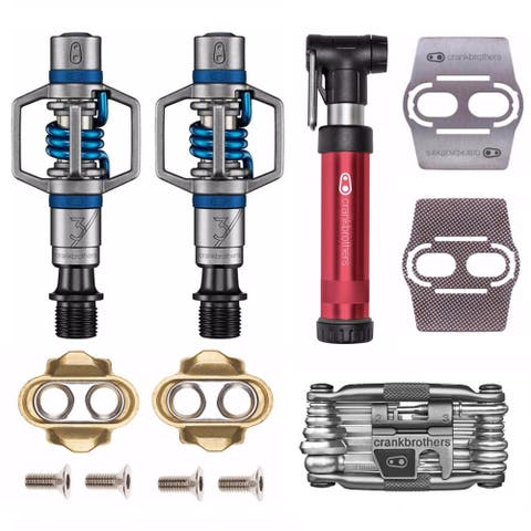 Crankbrothers Eggbeater 3 Bike Pedals Pair (Blue) with Cleats Bundle