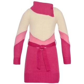 Dollhouse Little Girls Fuchsia Pink Paneled Knit Asymmetric Collar Dress