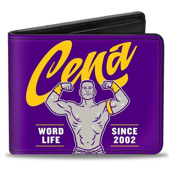John Cena Script Flex Pose + Never Give Up! Purple Gold White Bi Fold Wallet - One Size Fits most