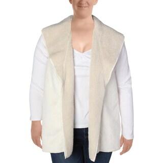 Lauren Ralph Lauren Womens Plus Outerwear Vest Faux Fur Lined Open Front