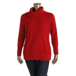 Calvin Klein Womens Cable Knit Cowl-Neck Sweater