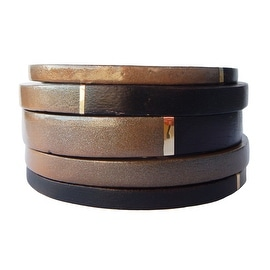Helene Jewelry Dark Brown Wood & Tan Enamel Bangles with Gold Trim