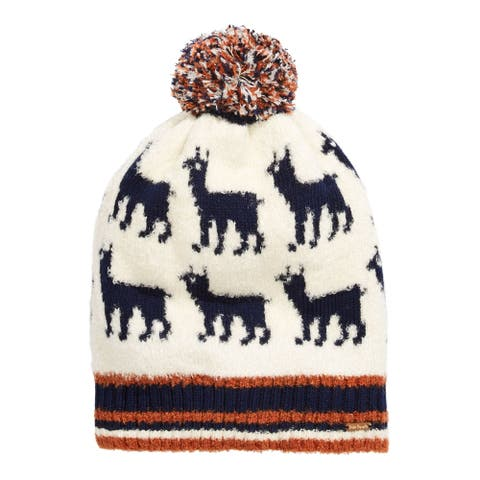 FREE PEOPLE Womens Beige Motif Fitted Pom Winter Beanie Hat Cap