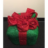 """12"""" Sparkly Green and Red Inflatable Tinsel Gift Box Christmas Decoration"""