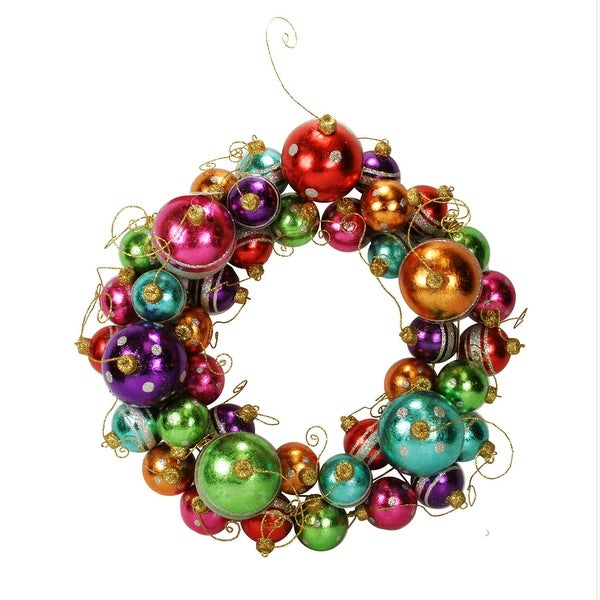 "16"" Multi-Color Striped and Polka Dotted Christmas Ball Ornament Wreath - Unlit"