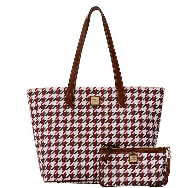 Dooney & Bourke Houndstooth Lg Zip Shopper & Slim Wristlet (Introduced by Dooney & Bourke at $268 in Aug 2016) - Brick