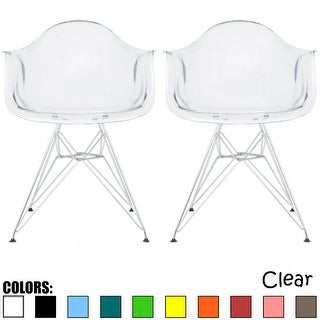 2xhome - Set of 2 Clear Modern Designer Acrylic Plastic Chair With Arms Armchairs Dining Chairs Silver Solid Chrome Office - N/A