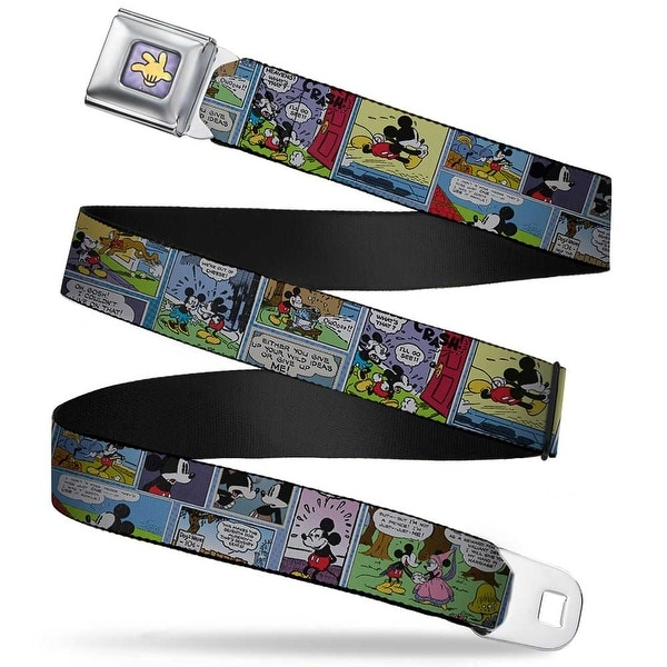 Mickey's Glove Purple Rays Full Color Mickey & Minnie Comic Strip Webbing Seatbelt Belt