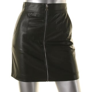 French Connection Womens Atlantic Faux Leather High Waist Mini Skirt