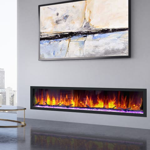 Dynasty Cascade 82-inch Wall-mounted Smart Control Electric Fireplace