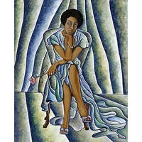 ''Red Rose'' by Nathaniel Barnes African American Art Print (36 x 30 in.)
