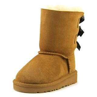 Ugg Australia Bailey Bow Bandana Toddler Round Toe Suede Tan Winter Boot