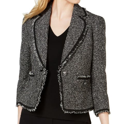 Anne Klein Womens Jacket Black Size 10 Boucle Single Button Frayed Hem