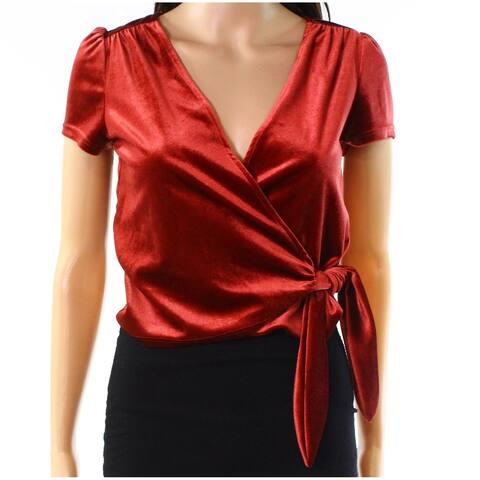 Soprano Women's Red Size Large L Short Sleeve Velvet Wrap Blouse