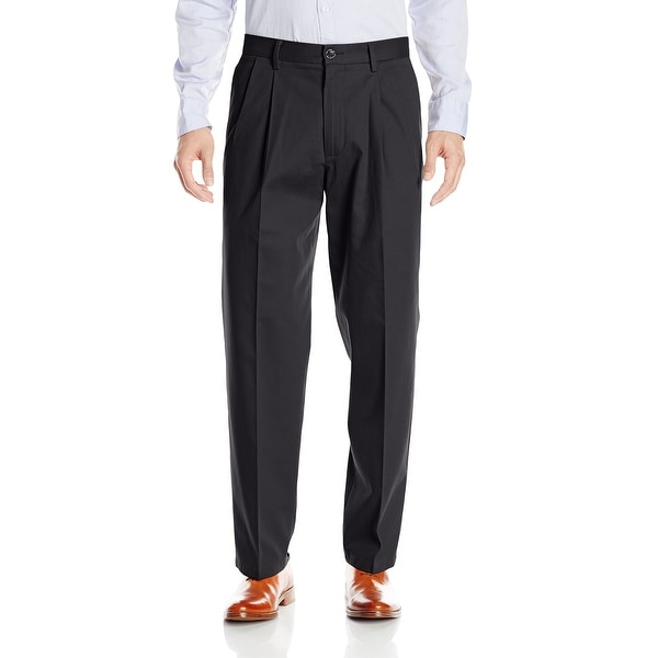 Dockers Mens Pants Black Size 40x29 Pleated Front Straight Leg Stretch. Opens flyout.